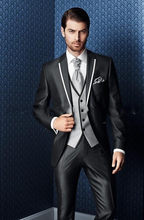 2017 Cheap New Arrival Groom Tuxedos Notch Lapel Men's Suit Shiny Black Groomsman Wedding/Prom Suits(Jacket+Pants+Tie+Vest)(China)