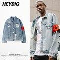424 Ретро Уничтожено стиральная с Молния Джинсовые Куртки, Чтобы Сделать старый HEYBIG Хип-Хоп одежда Жан куртки Китай размер М-2XL