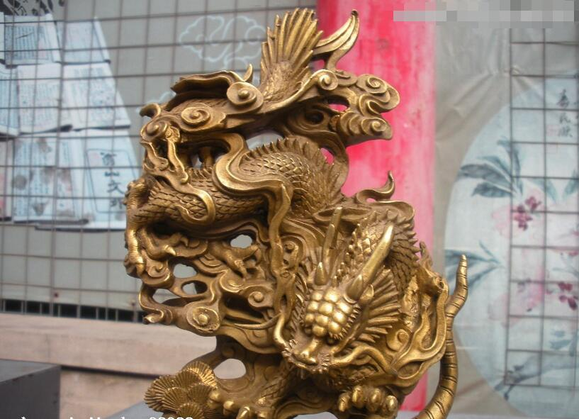 Chinois Royal Classique Pur Cuivre En Laiton Dragon luttes Tigre statue