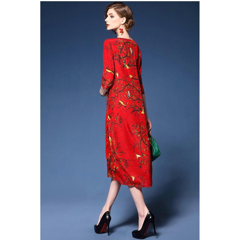 Women Tunic Loose Long Dress Retro Print Casual Pleated Oversized ...