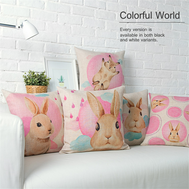 Custom Made Cartoon Throw Pillows Comfortable Sofa Cushion Cute Pink Bunny  Pattern Cushion Cover Wholesale Decorative Pillows Nice Look