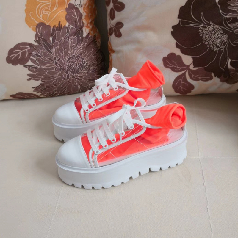 Rount Bottom Toe 2018 Mujer Up Casual Zapatos Red naranja rosy Transparente amarillo Pvc Negro azul Chic Lace Thick RXXqAwH