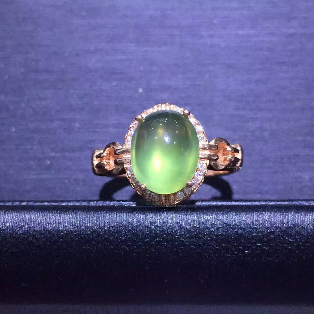 Natural green пренит драгоценный камень Кольцо Природный оливин камень Кольца S925 стерлингового серебра модный большой круглый женщины девушка подарок партии Ювелирных Изделий