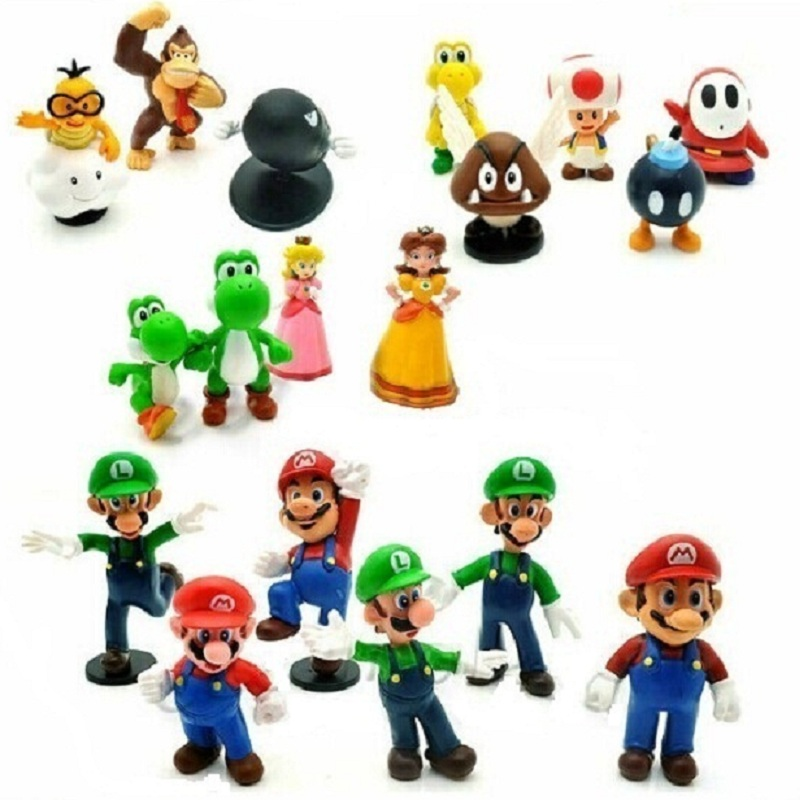 "18pcs/<font><b>set</b></font> 1.4""-2.5"" Super Mario Bros PVC <font><b>Action</b></font> <font><b>Figures</b></font> Yoshi <font><b>Dinosaur</b></font> <font><b>Toys</b></font> <font><b>Set</b></font> Kids Gift Home Decoration KF490"