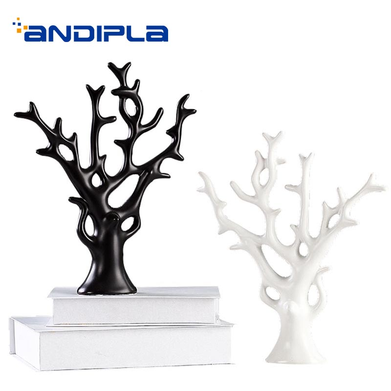 Style nordique en céramique décoration noir blanc bon augure arbre porte-bijoux/maison cave à vin ornement artisanat fait main Art