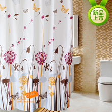 Feiqiong Brand 1.8*1.8m Waterproof Shower Curtain 100% Polyester Bathroom Curtains Dandelion Pattern With 12 Hooks Free