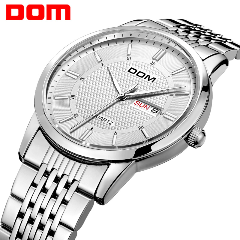 DOM top Brand for Men Luxury Quartz watch hot Analog Clock Leather Steel Strap Watches Complete Calendar Relogios Masculino M-11 dom men watch top luxury men quartz analog clock leather steel strap watches hours complete calendar relogios masculino m 11