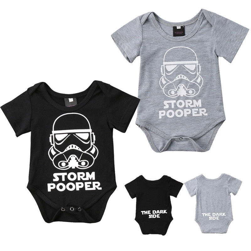 DERMSPE Casual Newborn Baby Boy Girl Short Sleeve Letter Print Soft Loose Cute Cartoon Romper Baby Clothes Jumpsuit