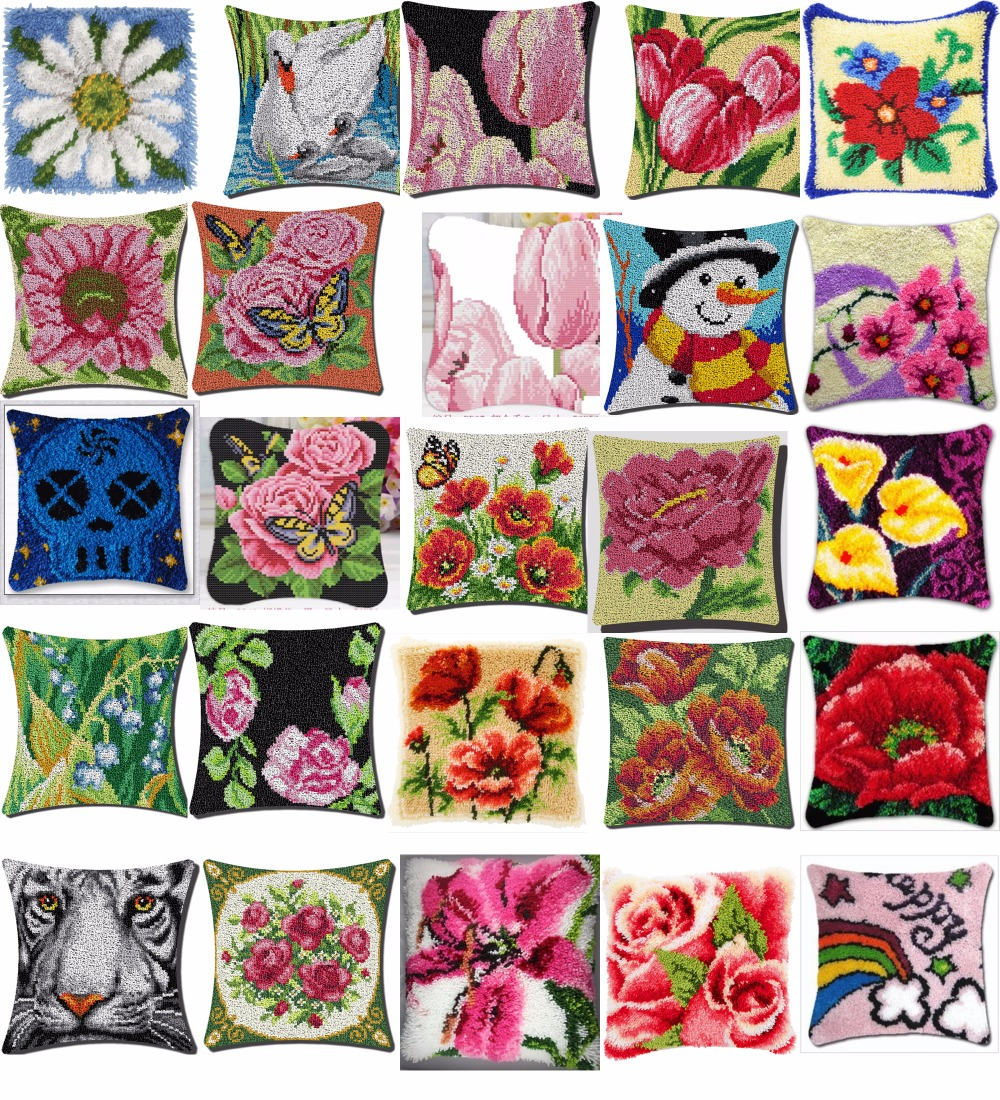Cushion Latch Hook Kit Pillow Mat DIY Craft Flower 42CM by 42CM Cross Stitch Needlework Crocheting Cushion Embroidery