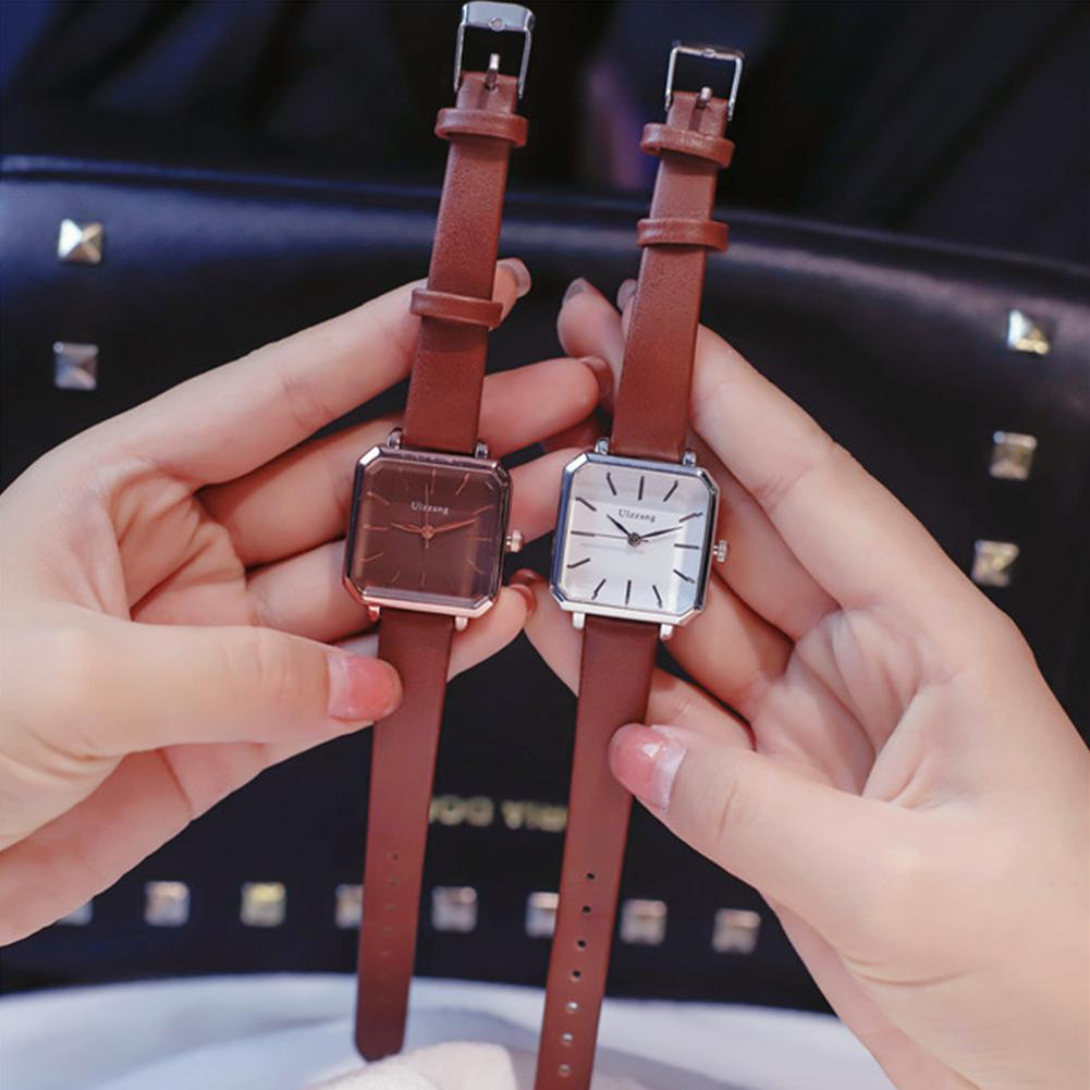LinTimes Women Wistwatches Leather Strap Simple Style Fashion Vintage Square Shape Quartz Watch For Female
