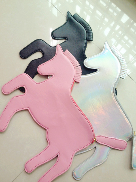 Free shipping unicorn designer laser silver horse clutch Bag HARAJUKU unicorn woman handbag horse bag
