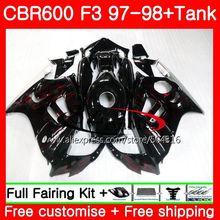 Cuerpo para HONDA CBR600F3 CBR600RR F3 CBR 600F3 FS 47SH1 CBR600 F3 97 98 nuevo llamas rojas CBR600FS CBR 600 f3 1997 1998 kit de carenado