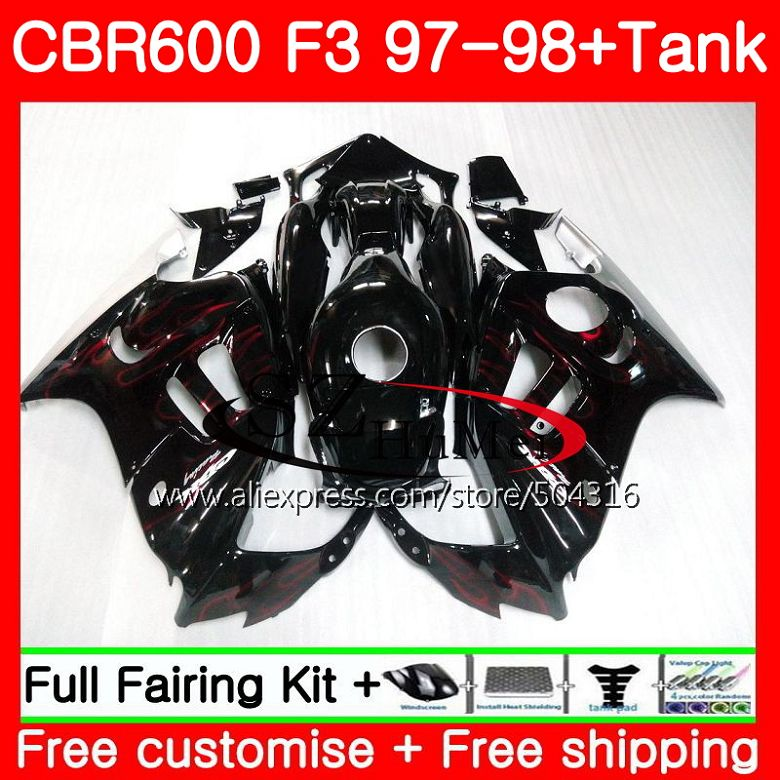Corpo Per HONDA CBR600F3 CBR600RR F3 CBR 600F3 FS 47SH1 CBR600 F3 97 98 New Red flames CBR600FS CBR 600 f3 1997 1998 Carenature kit