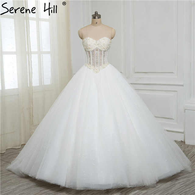 Luxurious Bling Strapless Wedding Dresses Corset Bodice Sheer Bridal Ball Crystal Pearl Beads Rhinestones Tulle