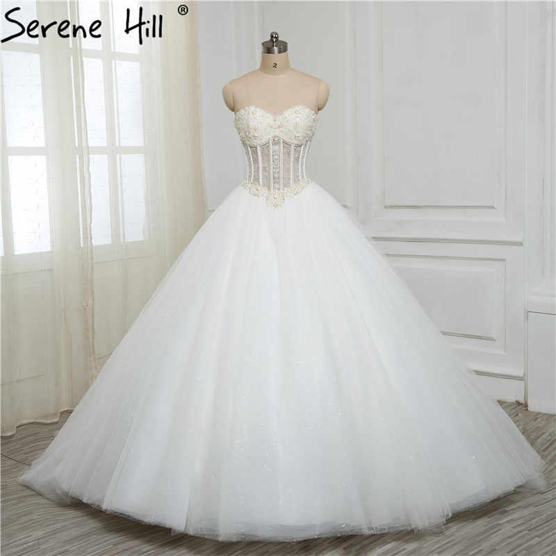 69de3d3863 Luxurious Bling Strapless Wedding dresses Corset Bodice Sheer Bridal ...