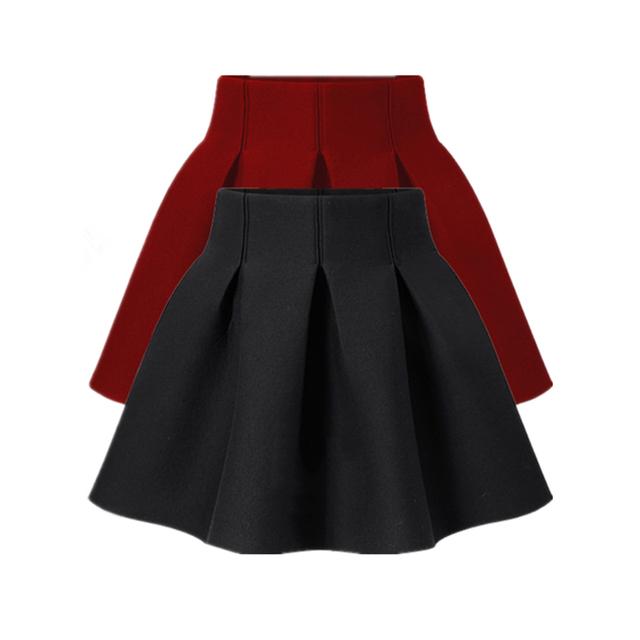 Nuevo 2016 de Primavera Y Otoño de Las Mujeres vestido de Bola de La Falda Negro Puff falda de Cintura Alta Falda Corta Más El Tamaño del Busto de La Falda Para Mujer