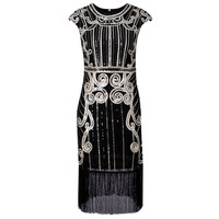 Zmvkgsoa Robe De Soiree Great Gatsby Dress Fringe Women Tassel Sequined Sexy Night Club Bodycon Retro