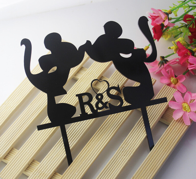 1pcs  Acrylic abstract Mickey Mouse Wedding cake topper plug creative cake gift acrylic insert
