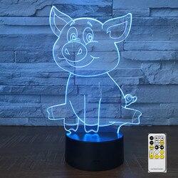 Świnia lampa zdalnie sterowana 3D LED lampki nocne 7 kolory jasne wizualizacja dekoracji domu złudzenie optyczne niesamowite Drop Shipping