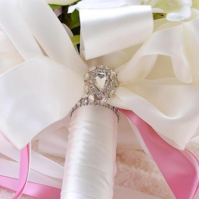 Online Shop Romantic New Purple Artificial Flowers Rose Crystal ...