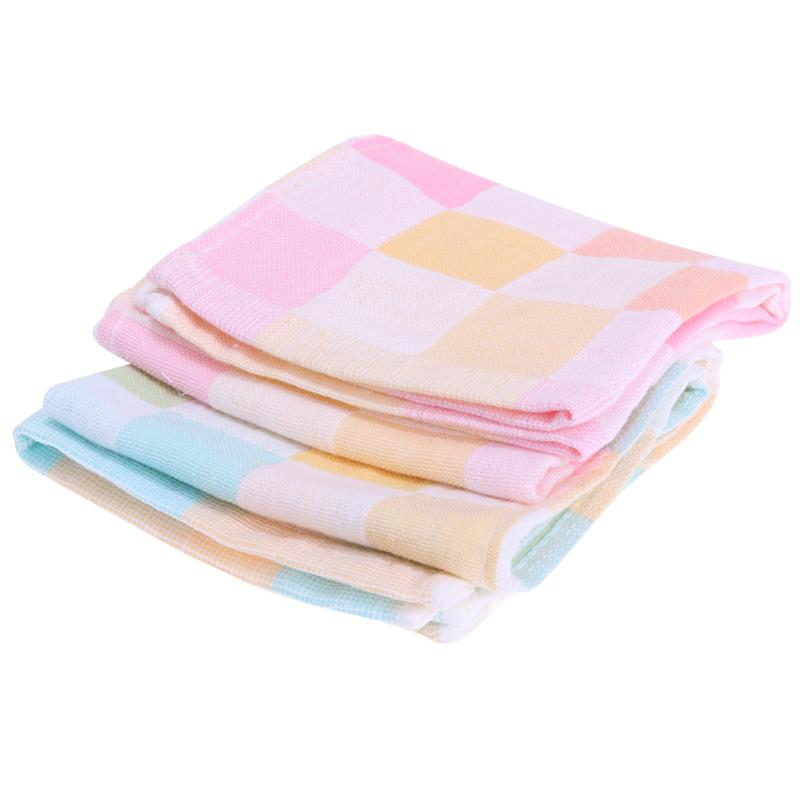 Double Layers Gauze Baby Feeding Bids Towel Cotton Baby Bibs Infant Plaid Towel For Newbron Bid Scarf Cloth