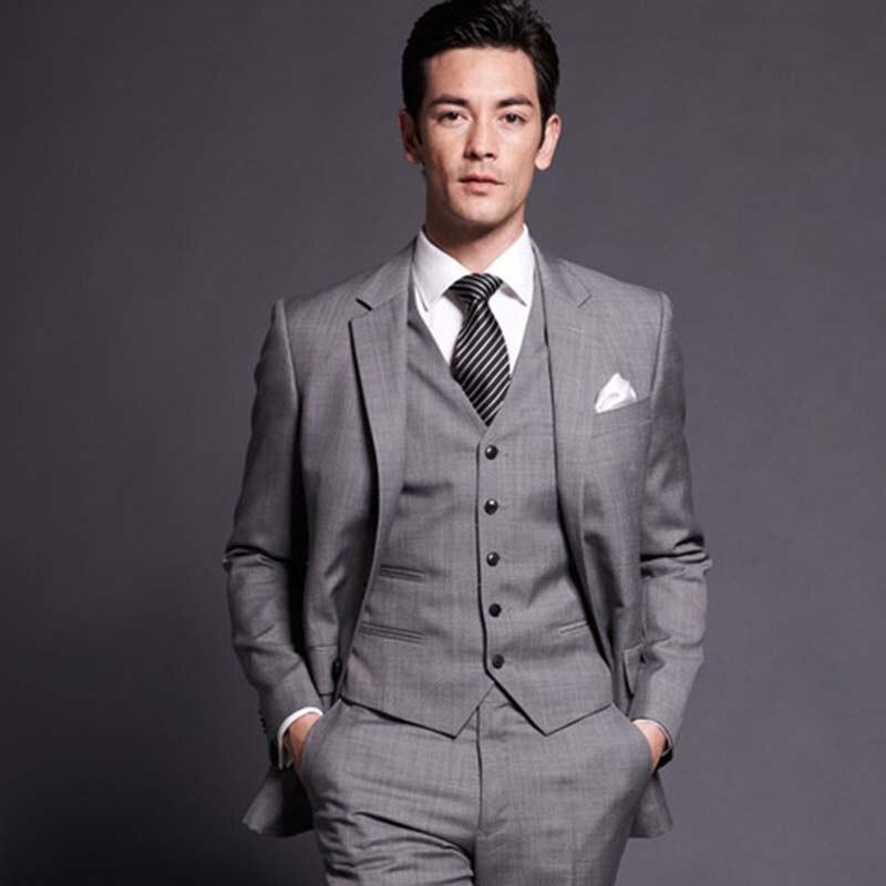 2017 Designs Light Grey Formal Mens Suits Custom
