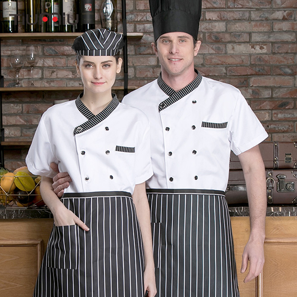 Chef Jacket Restaurant Uniform Short Sleeve Striped Collar Chef Shirt Kitchen Cooking Bakery Sushi Cafe Work Coat Men Women