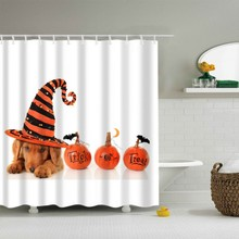 Halloween Waterproof Mildew Proof Shower Curtain Bathroom Cute Cat Dog Witch Pattern For