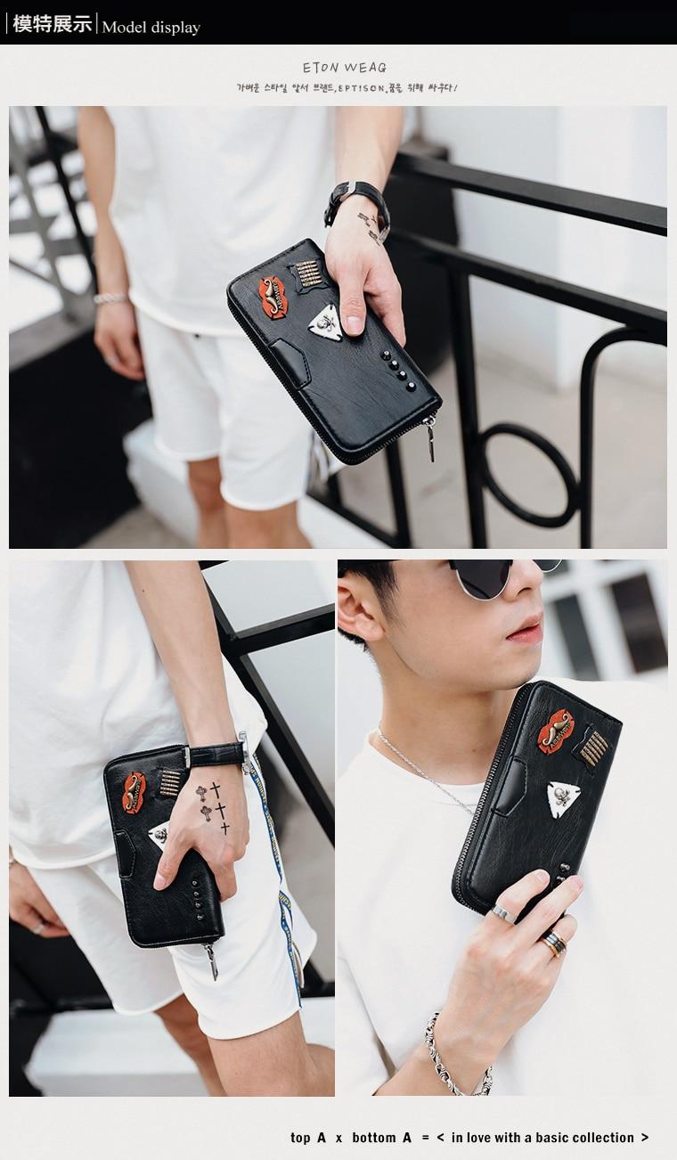 Tidog estilo Coreano bolsa de couro longo carteira