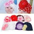 1 Unid Caliente Sombrero de la Gorrita Tejida Del Algodón Del Bebé Niña Pequeña Flor Accesorios Sombrero accesorios de Fotografía