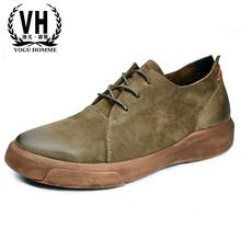spring and autumn British retro leather Flats men's shoes al