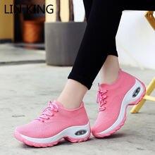Lin king женские кроссовки размера плюс на шнуровке Повседневная