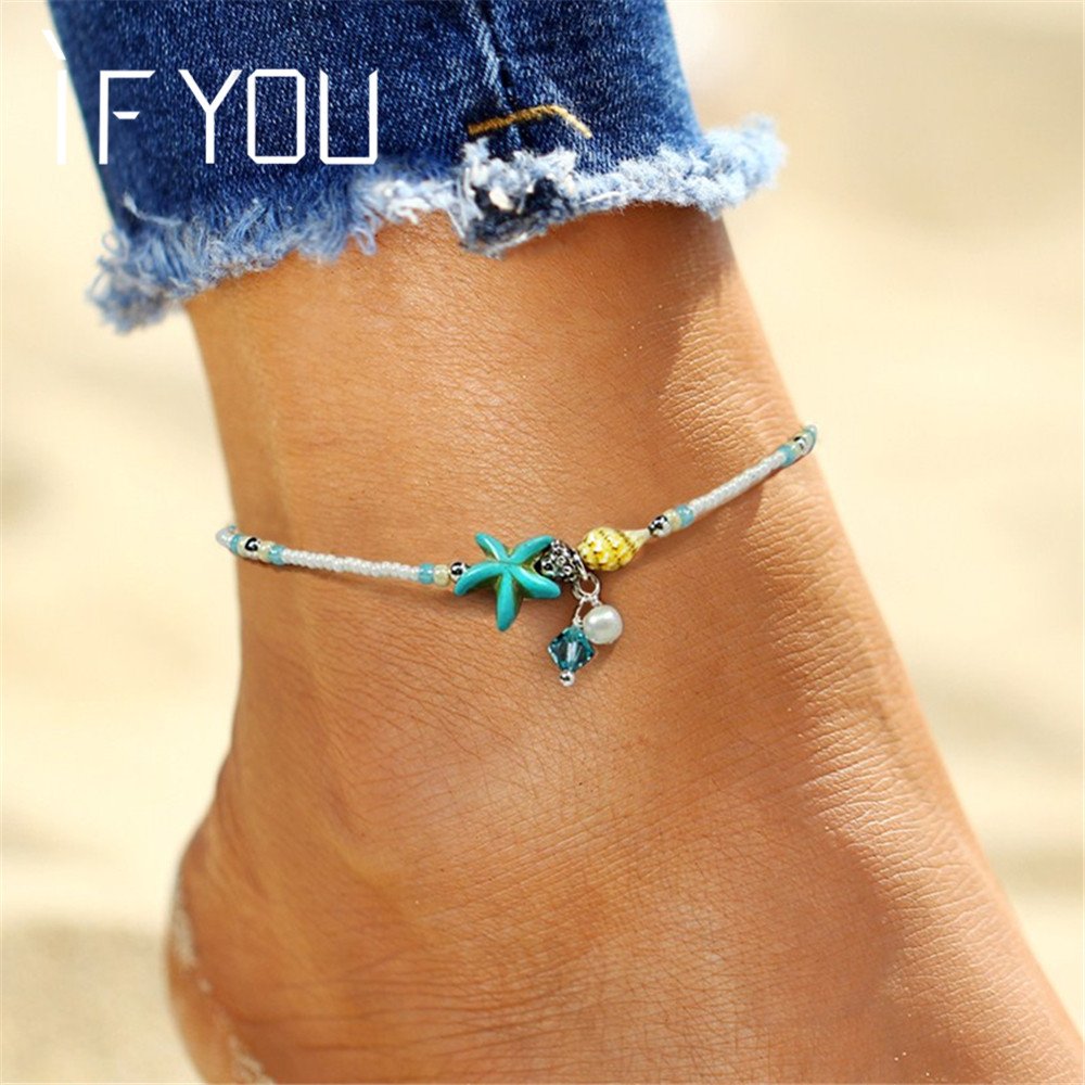 IF YOU Bohemia Bead Shell Anklet Foot Jewelry Women Ankle Leg Jewelry Summe..