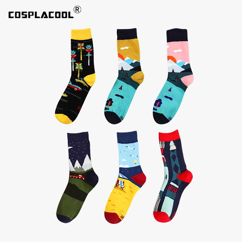 [COSPLACOOL]Harajuku 2019 New Products Cartoon Fashion Casual Men Socks Spring Summer Style Comfortable Creative Cotton Socks