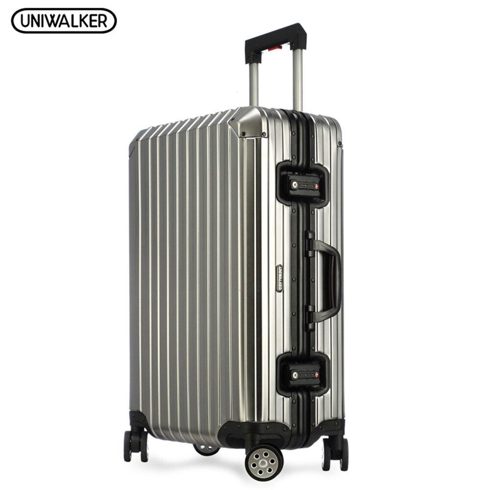 UNIWALKER 100% Алюминий Rolling Чемодан Путешествия Тележка Hardside модные Чемодан с вращающихся колес TSA замок легкий стержень