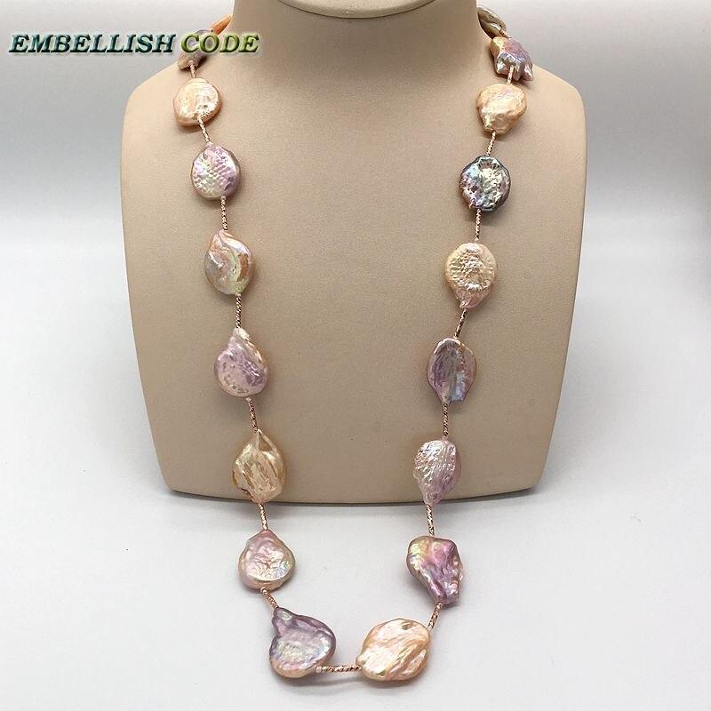 Tout vêtement élégant perles baroques irrégulières long collier cravate pêche violet avec perles dorées rouges balancent 65 cm pour les femmes