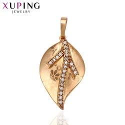 Xuping Temperament w kształcie liścia modny naszyjnik wisiorek dla kobiet Man komunikat biżuteria świąteczne prezenty 31372