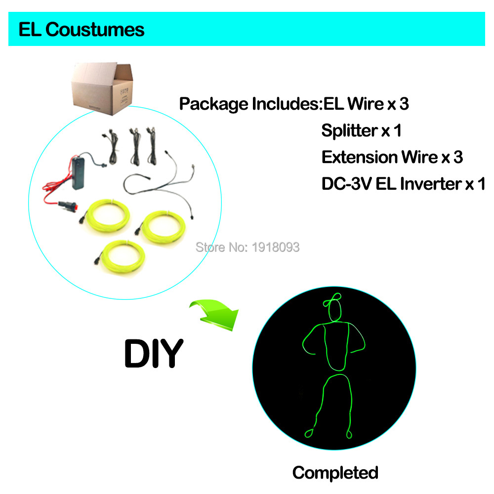10 Colors EL Wire Suits LED Strip Neon Light Costumes the Style of Matchstick Men DIY Light up EL Costumes for Talent Show