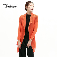 Fold top large size women blouse cardigan classic thin coat pleated coat free shipping