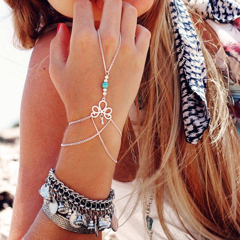 Fashion Retro Trendy Net Mesh Hand Chain Bracelet With Finger Ring Crystal Slave Bracelets Bangle Women Bridal Wedding Jewelry F