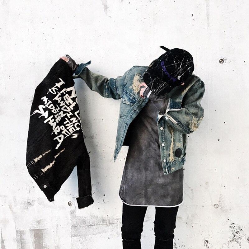 Denim Jacket Mens Vinage Distressed Destroyed Jeans Coat Hip Hop Casual Printed Hole Jackets Coats Blue Black Asian M-XXL