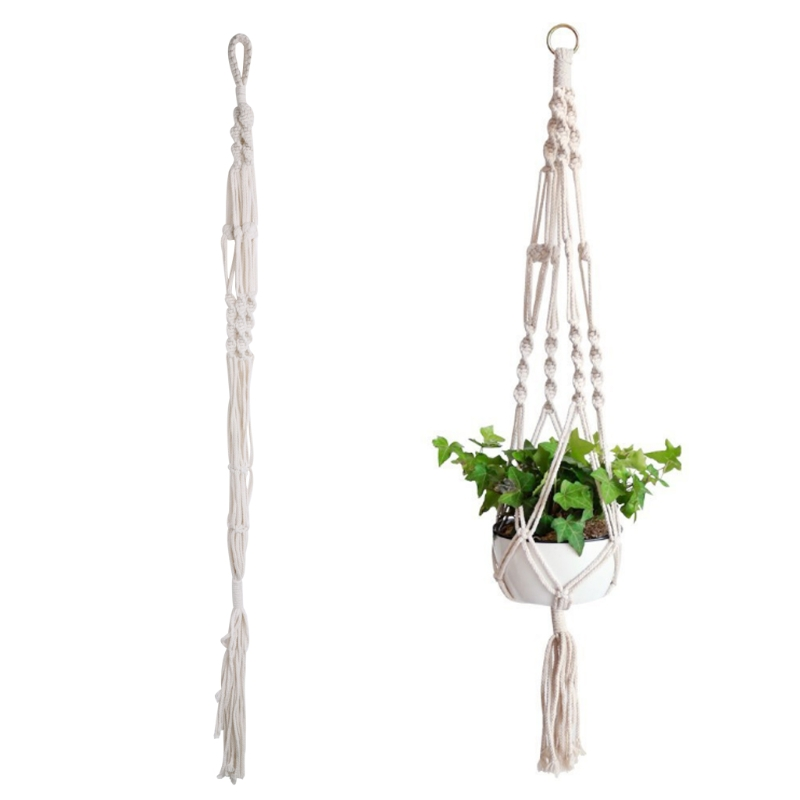 Macrame Plant Hangers Indoor Outdoor Flower Hanging Basket Hemp Rope 4 Legs New