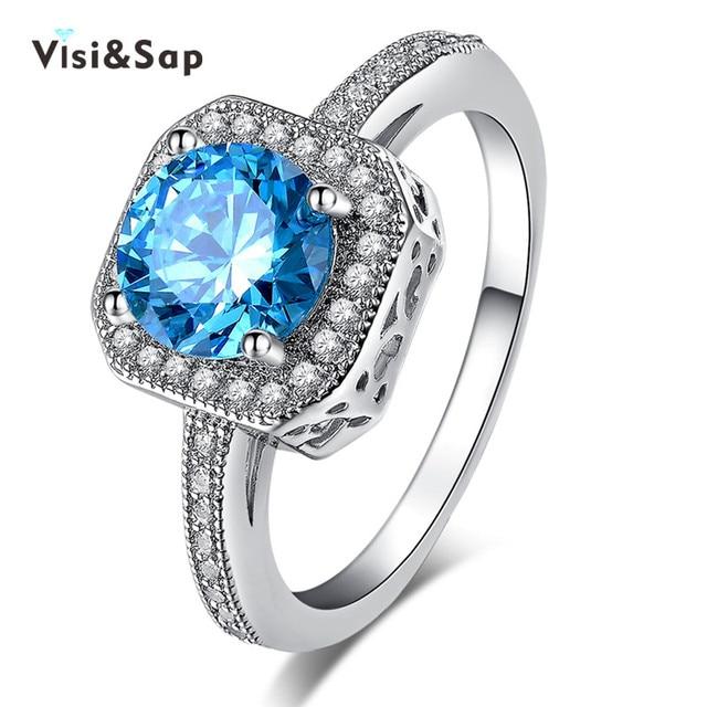 Visisap Oro Blanco anillo de color azul Océano joyería de