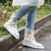 Waterproof Rain Shoe Cover Reusable Rain Cover For Shoes Silicone Transparent Women Men Rain Boots Non Slip Wear Resistant Cute