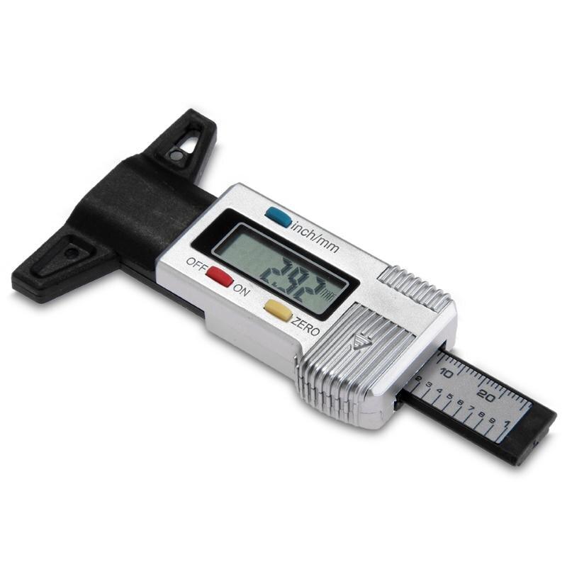 1.14 Inch LCD Digital Tyre Gauge Tread Depth Deep Gauge for Brake Shoe Pad Wear Car Van ...