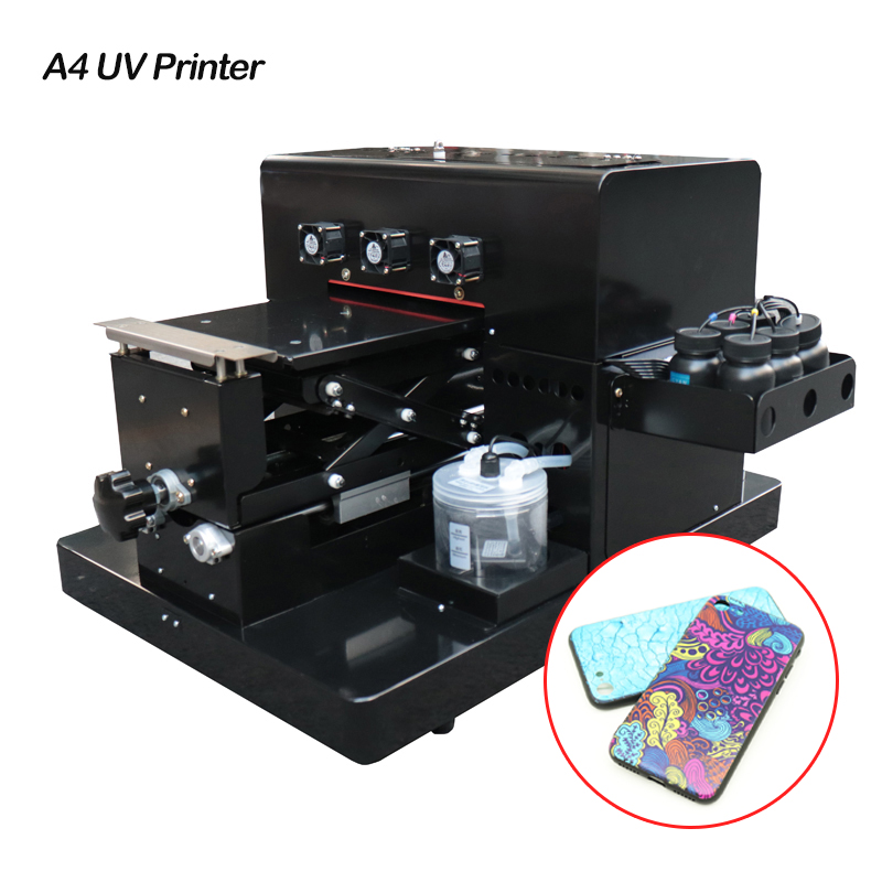 A4 Size UV LED Printer Small Size Flatbed Inkjet Printers With Emboss Effect for Phone Case