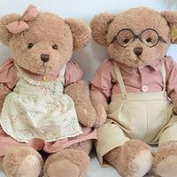 Cute 2pcs/pair 48cm Couple Teddy Bear Stuffed & Plush Toy Doll Soft Animal Dolls Pillow Send Girls Birthday Gifts Good Quality