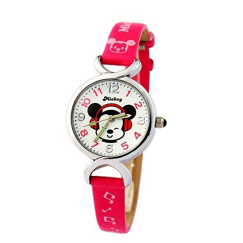 cartoon Disney brand children's wristwatch Girl Minnie waterproof quartz  girls watch Leather watch kids clocks relogio