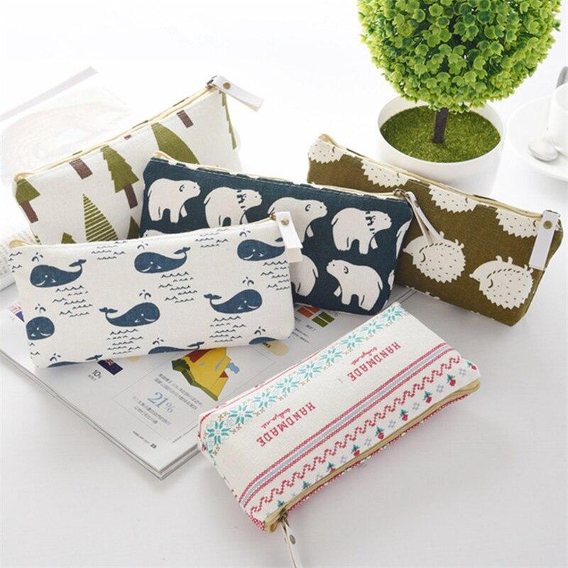 Cute Animal Forest Series Pencil Case For Girls Boys Creative Stationery Bag School Supplies Kawaii Cartoon Pen Box Learn Gift