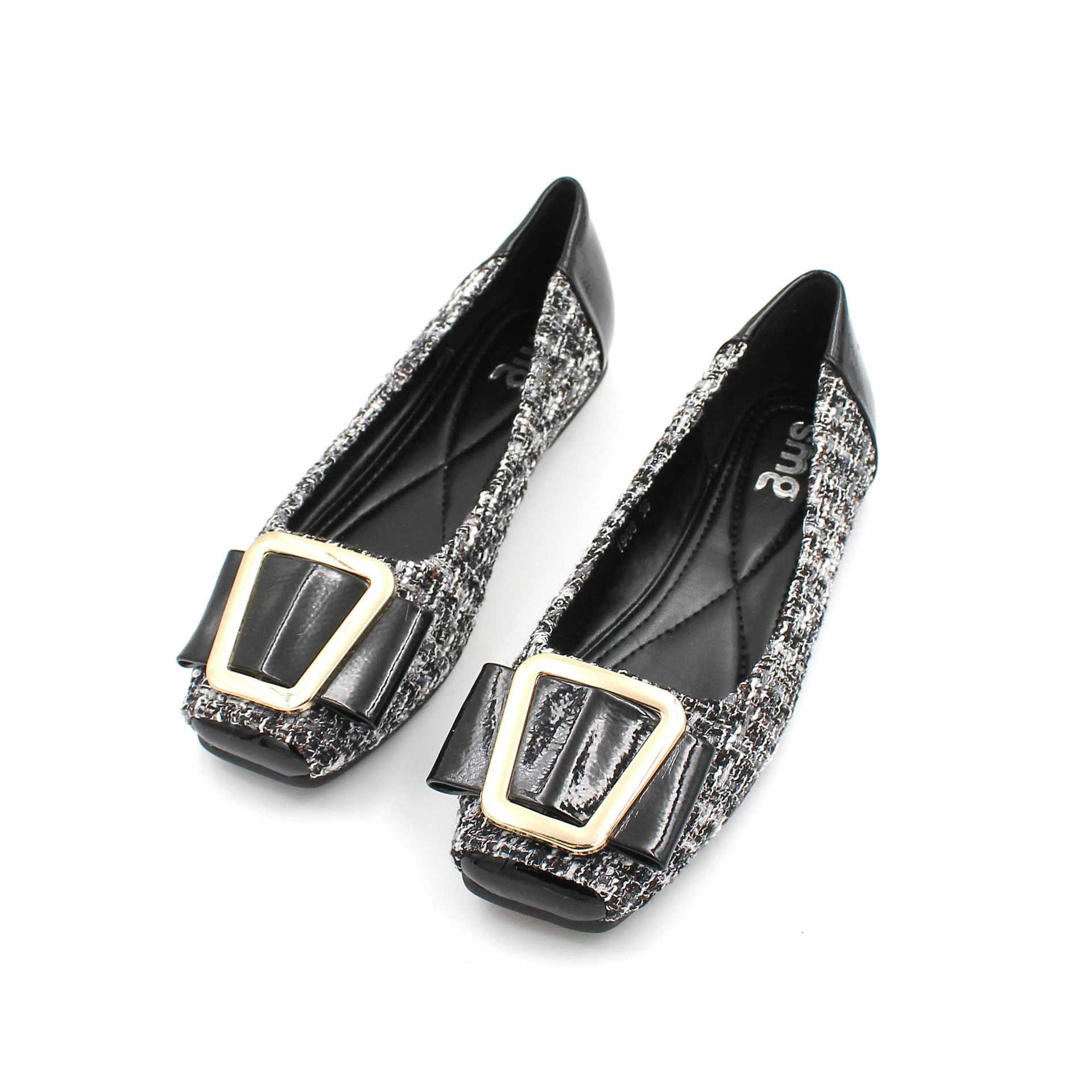 Frauen Schuhe Tuch Gemischt Farbe Gürtel Schnalle Flache Schuhe Flach Mund Quadratischen Kopf Weichen Boden Schuhe Plattform Schuhe Müßiggänger Frauen